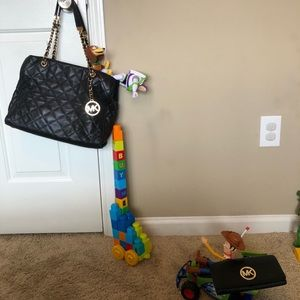 Michael Kors Quilted Black purse with wallet